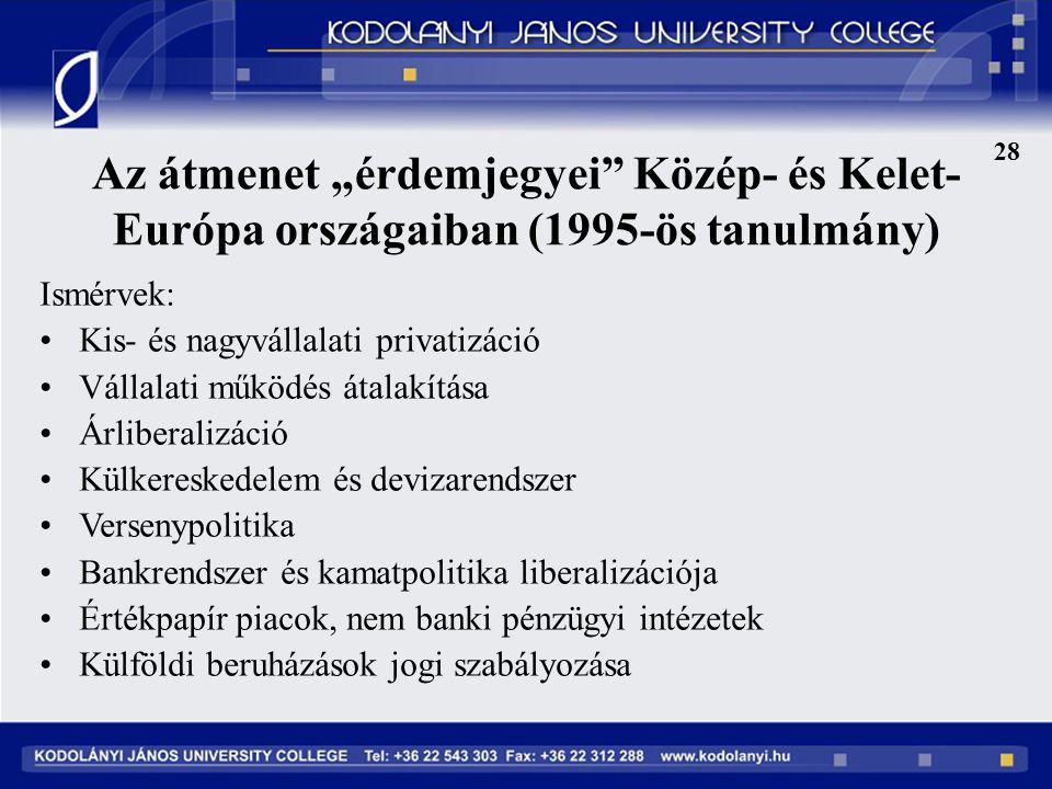 """28 Az átmenet """"érdemjegyei Közép- és Kelet-Európa országaiban (1995-ös tanulmány) Ismérvek: Kis- és nagyvállalati privatizáció."""