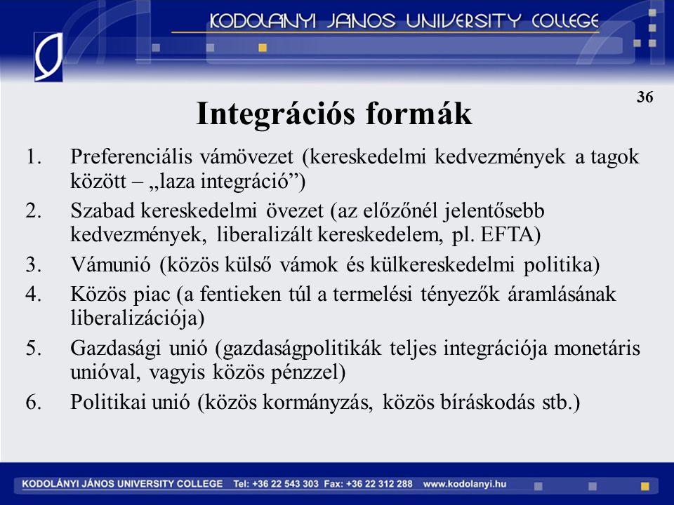 """36 Integrációs formák. Preferenciális vámövezet (kereskedelmi kedvezmények a tagok között – """"laza integráció )"""