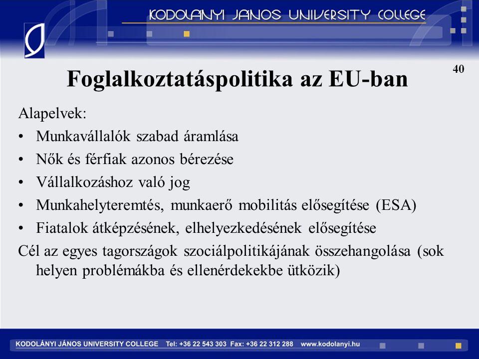 Foglalkoztatáspolitika az EU-ban