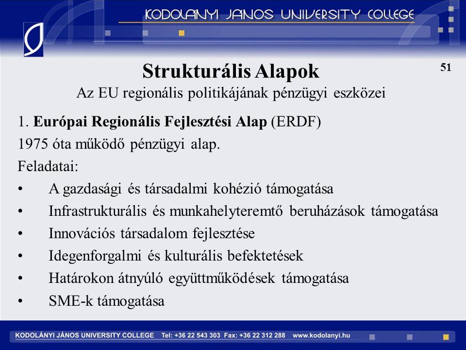 Strukturális Alapok Az EU regionális politikájának pénzügyi eszközei