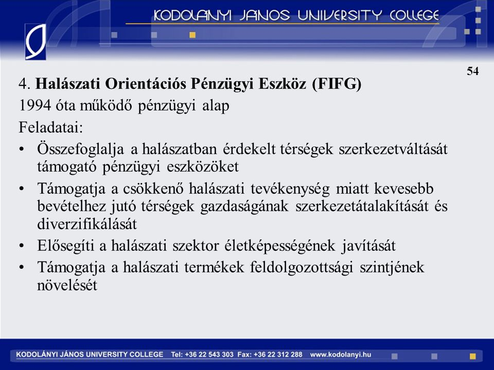 4. Halászati Orientációs Pénzügyi Eszköz (FIFG)