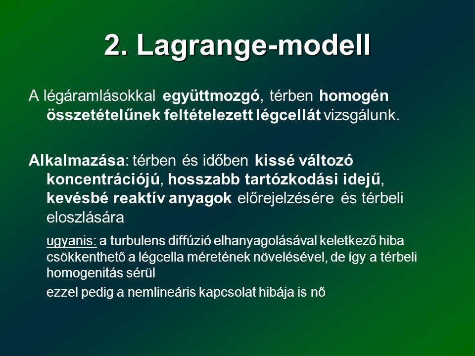 2. Lagrange-modell A légáramlásokkal együttmozgó, térben homogén összetételűnek feltételezett légcellát vizsgálunk.