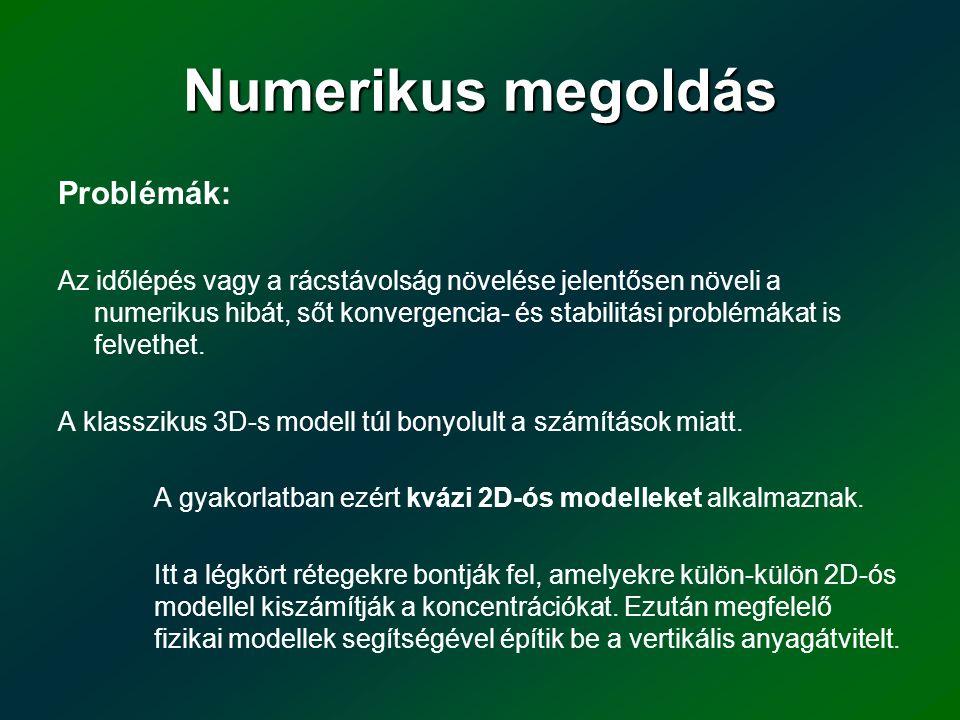 Numerikus megoldás Problémák: