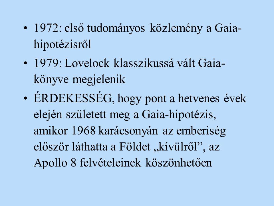 1972: első tudományos közlemény a Gaia-hipotézisről