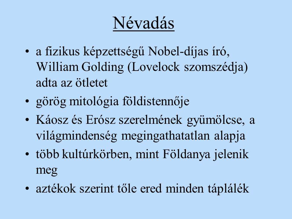Névadás a fizikus képzettségű Nobel-díjas író, William Golding (Lovelock szomszédja) adta az ötletet.