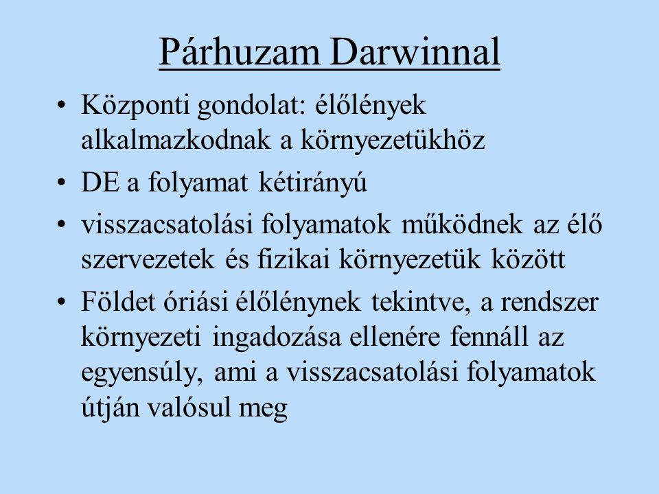 Párhuzam Darwinnal Központi gondolat: élőlények alkalmazkodnak a környezetükhöz. DE a folyamat kétirányú.