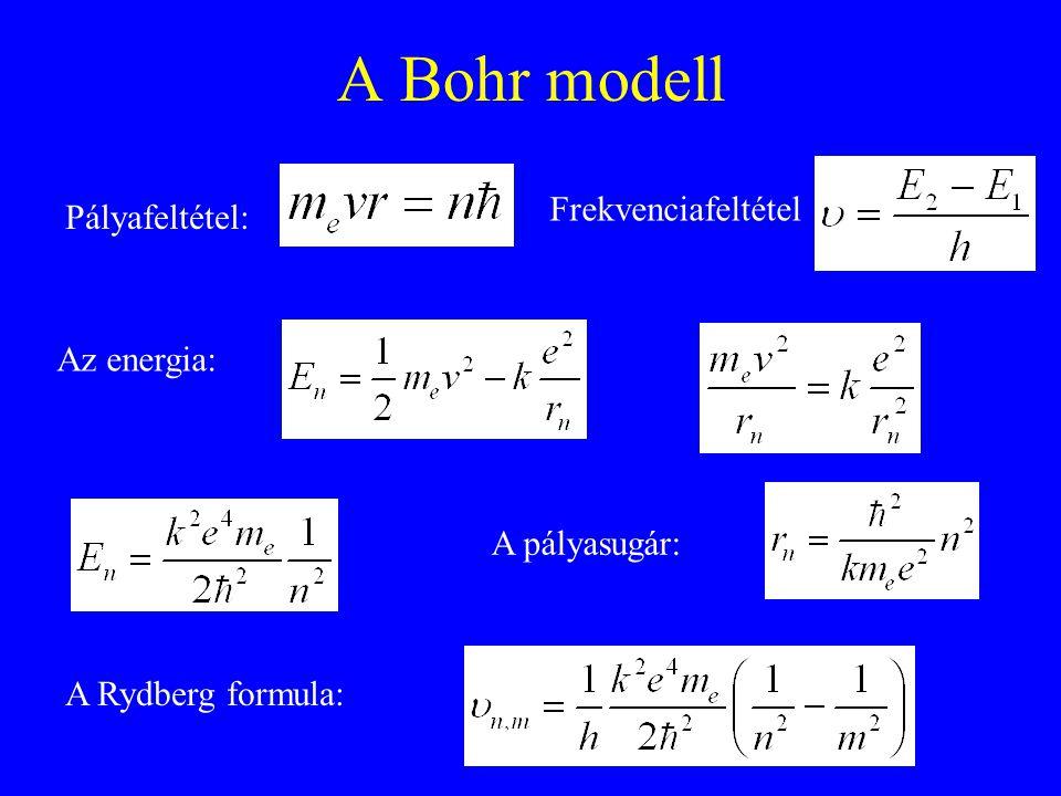 A Bohr modell Frekvenciafeltétel Pályafeltétel: Az energia: