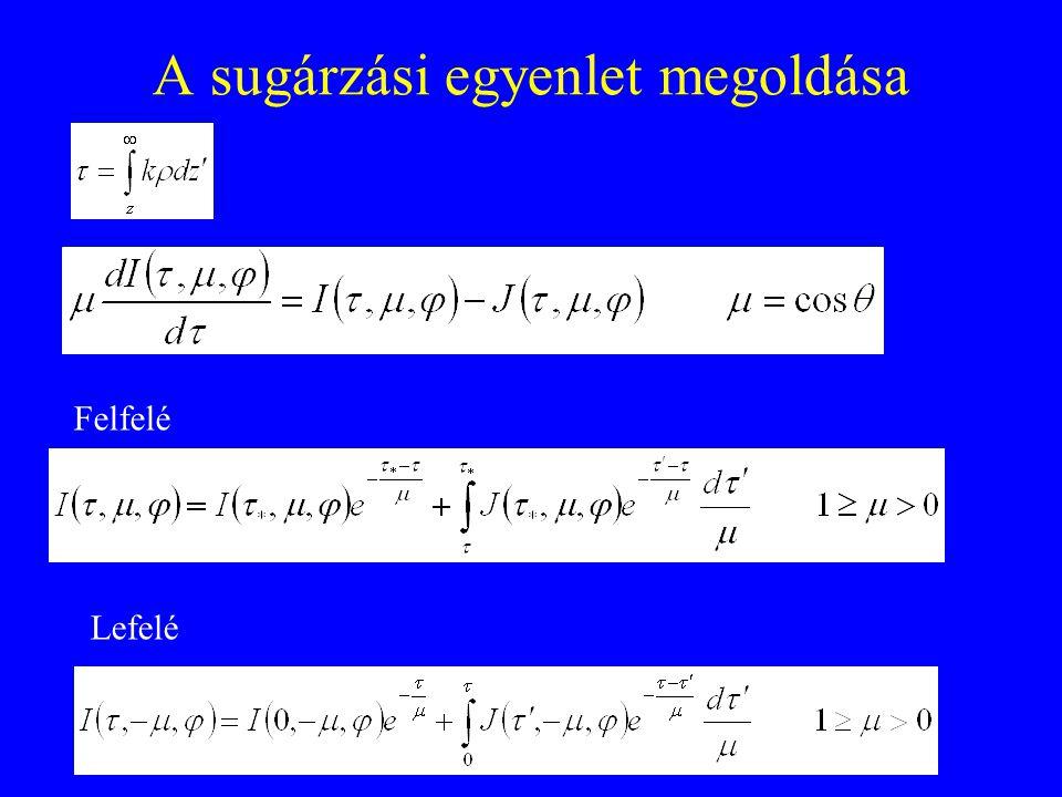 A sugárzási egyenlet megoldása