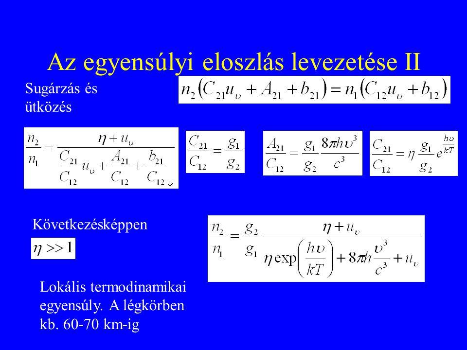 Az egyensúlyi eloszlás levezetése II