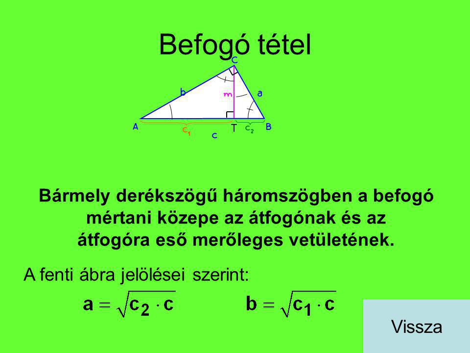 Befogó tétel Bármely derékszögű háromszögben a befogó mértani közepe az átfogónak és az átfogóra eső merőleges vetületének.