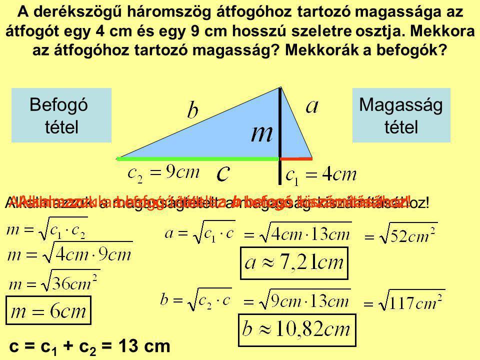 Befogó tétel Magasság tétel c = c1 + c2 = 13 cm