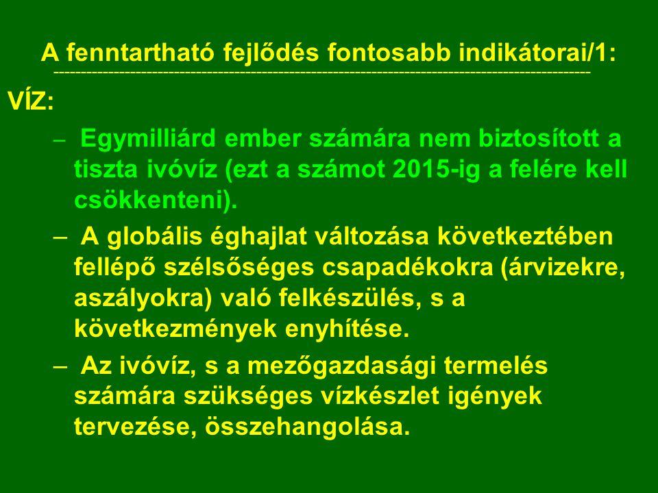 A fenntartható fejlődés fontosabb indikátorai/1: