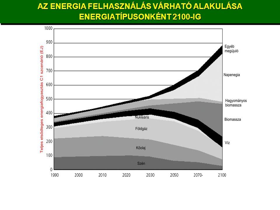 AZ ENERGIA FELHASZNÁLÁS VÁRHATÓ ALAKULÁSA ENERGIATÍPUSONKÉNT 2100-IG