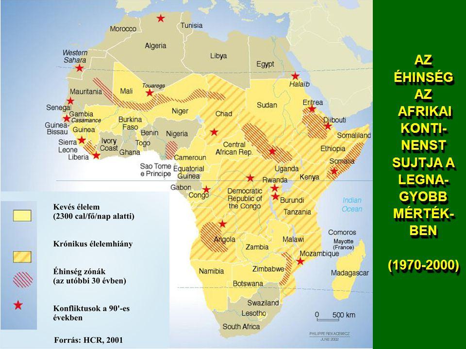 AZ ÉHINSÉG AZ AFRIKAI KONTI-NENST SUJTJA A LEGNA-GYOBB MÉRTÉK-BEN (1970-2000)