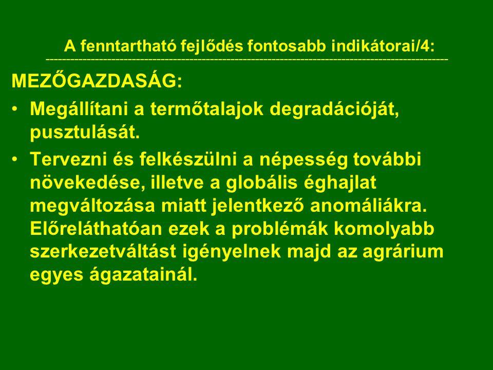 A fenntartható fejlődés fontosabb indikátorai/4:
