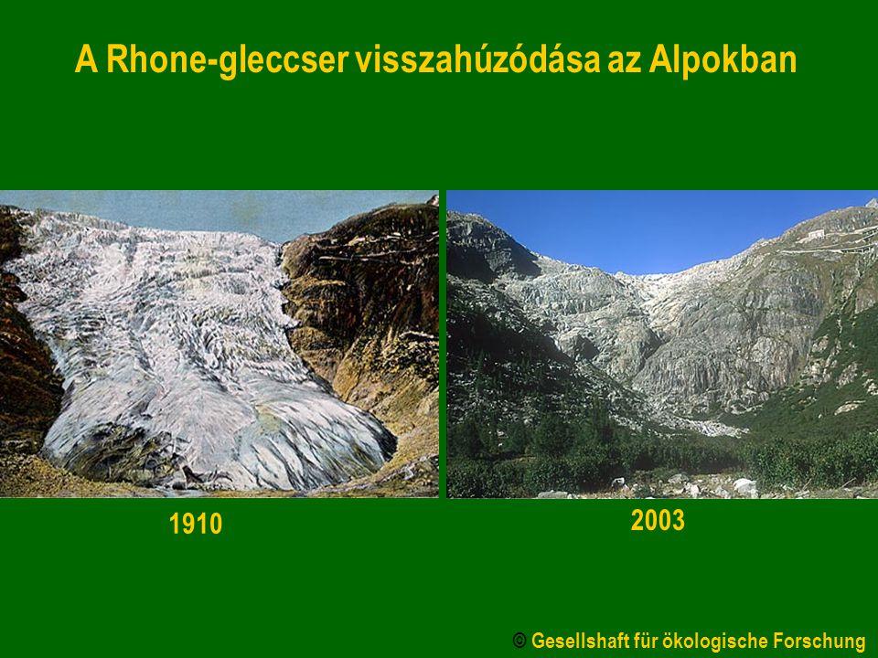 A Rhone-gleccser visszahúzódása az Alpokban