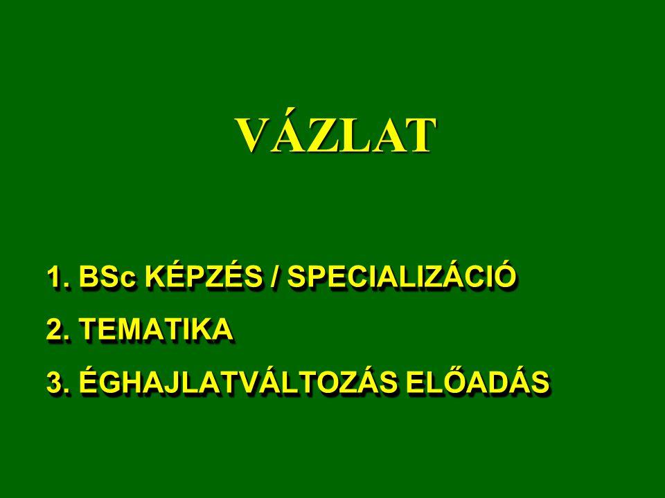 1. BSc KÉPZÉS / SPECIALIZÁCIÓ 2. TEMATIKA 3. ÉGHAJLATVÁLTOZÁS ELŐADÁS