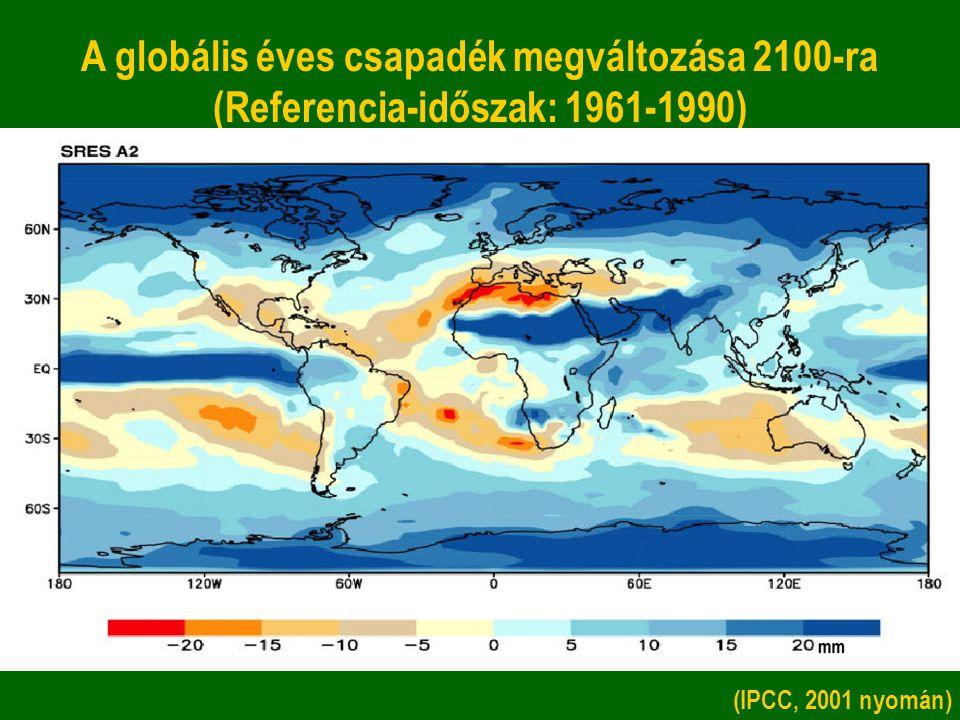 A globális éves csapadék megváltozása 2100-ra (Referencia-időszak: 1961-1990)