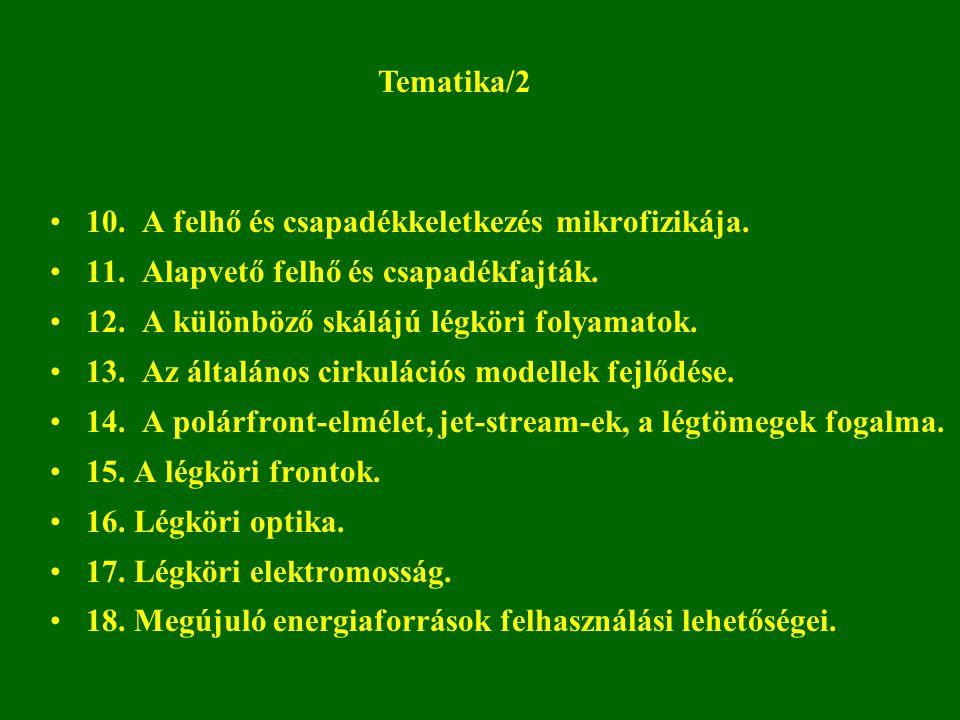 Tematika/2 10. A felhő és csapadékkeletkezés mikrofizikája. 11. Alapvető felhő és csapadékfajták.