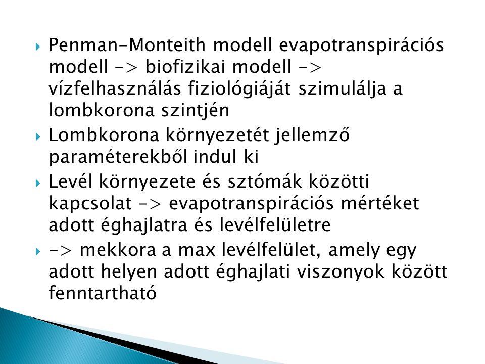 Penman-Monteith modell evapotranspirációs modell -> biofizikai modell -> vízfelhasználás fiziológiáját szimulálja a lombkorona szintjén