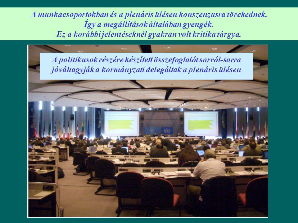 A munkacsoportokban és a plenáris ülésen konszenzusra törekednek.