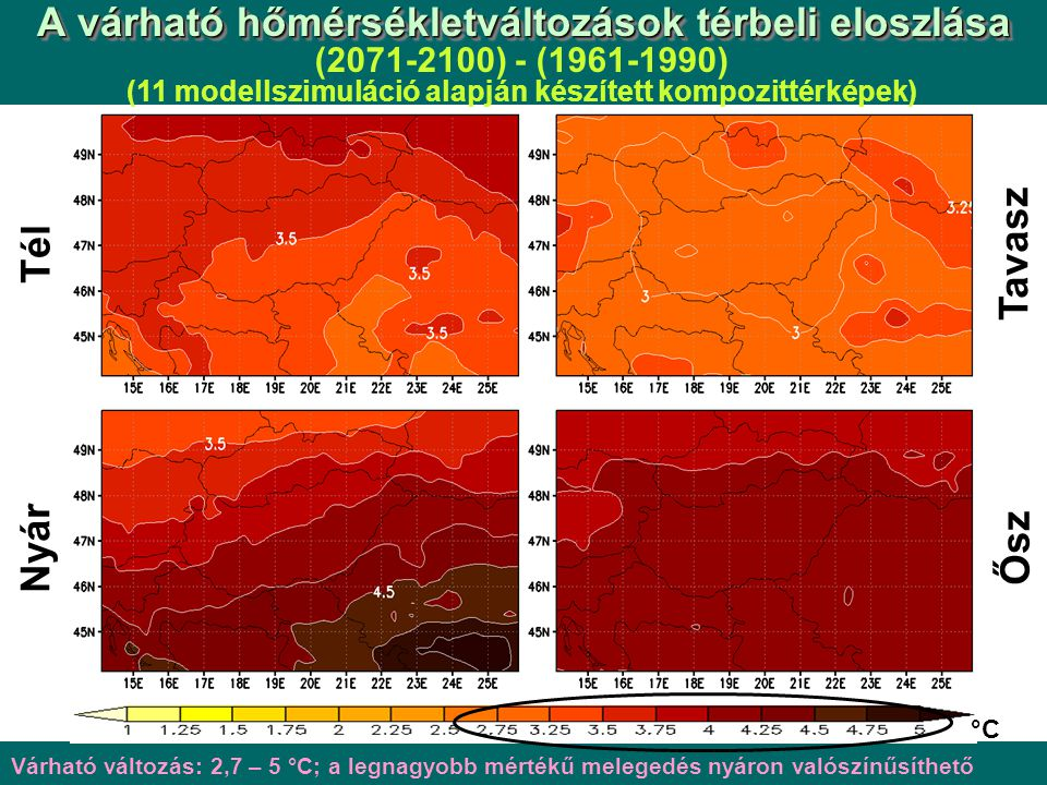 A várható hőmérsékletváltozások térbeli eloszlása