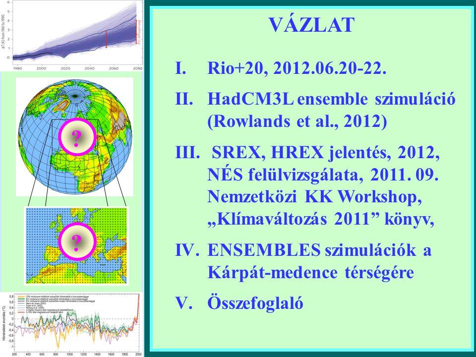 VÁZLAT Rio+20, 2012.06.20-22. HadCM3L ensemble szimuláció (Rowlands et al., 2012)