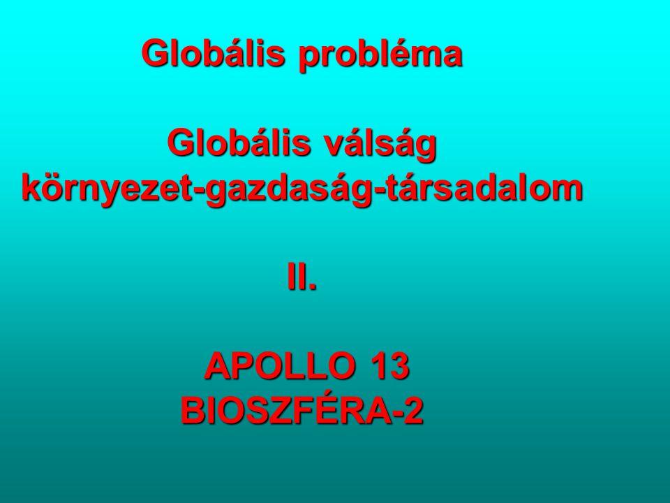 Globális probléma Globális válság környezet-gazdaság-társadalom II