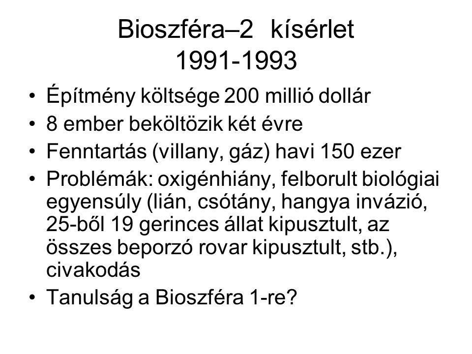 Bioszféra–2 kísérlet 1991-1993 Építmény költsége 200 millió dollár