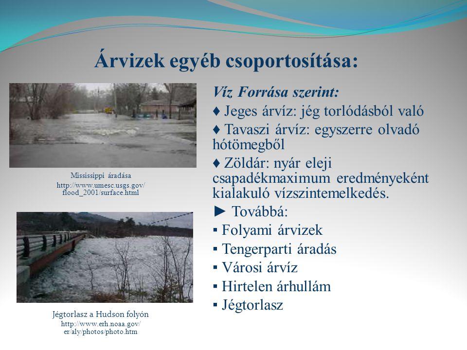 Árvizek egyéb csoportosítása: