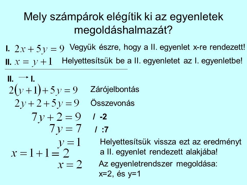 Mely számpárok elégítik ki az egyenletek megoldáshalmazát
