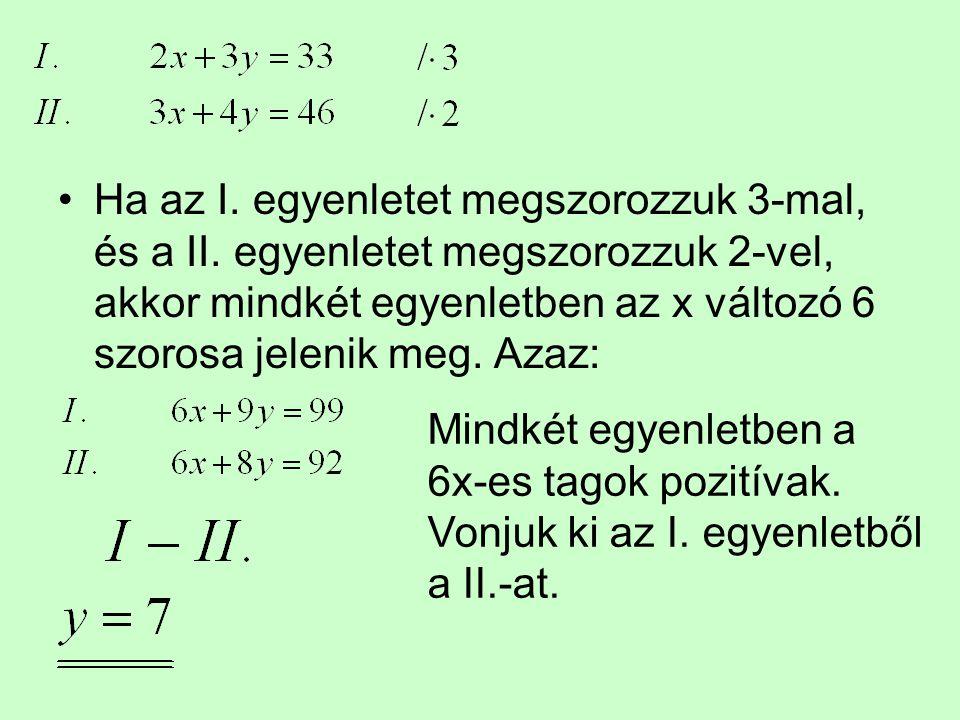 Ha az I. egyenletet megszorozzuk 3-mal, és a II