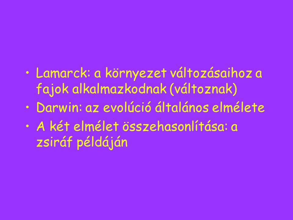 Lamarck: a környezet változásaihoz a fajok alkalmazkodnak (változnak)