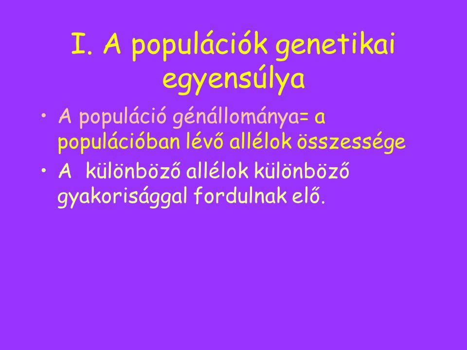 I. A populációk genetikai egyensúlya