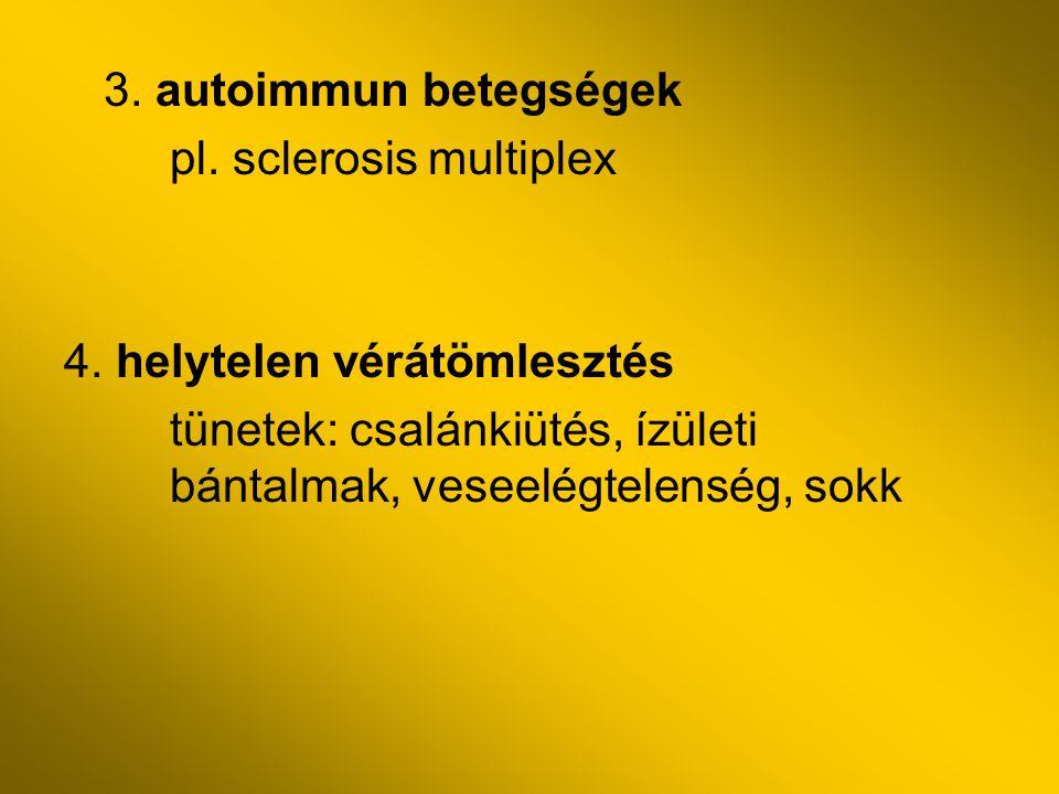 3. autoimmun betegségek pl. sclerosis multiplex.