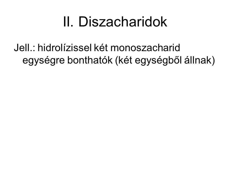 II. Diszacharidok Jell.: hidrolízissel két monoszacharid egységre bonthatók (két egységből állnak)