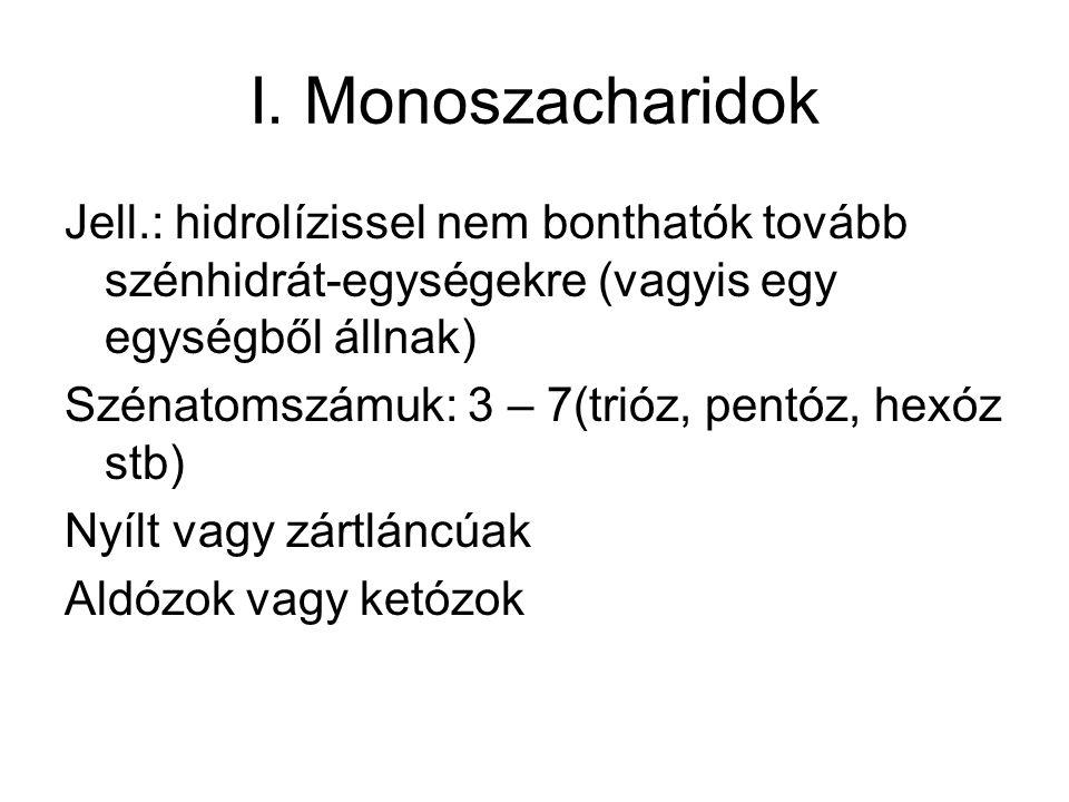 I. Monoszacharidok Jell.: hidrolízissel nem bonthatók tovább szénhidrát-egységekre (vagyis egy egységből állnak)