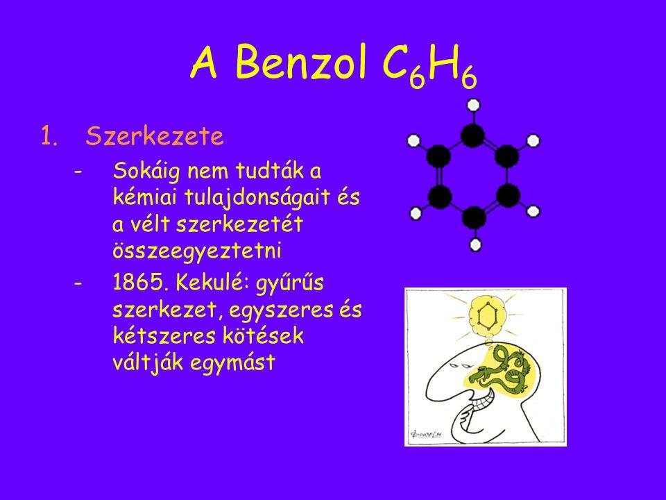 A Benzol C6H6 Szerkezete. Sokáig nem tudták a kémiai tulajdonságait és a vélt szerkezetét összeegyeztetni.