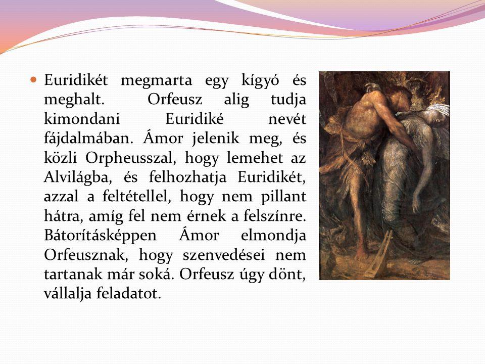 Euridikét megmarta egy kígyó és meghalt