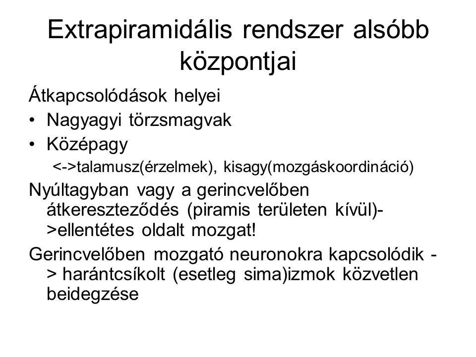 Extrapiramidális rendszer alsóbb központjai