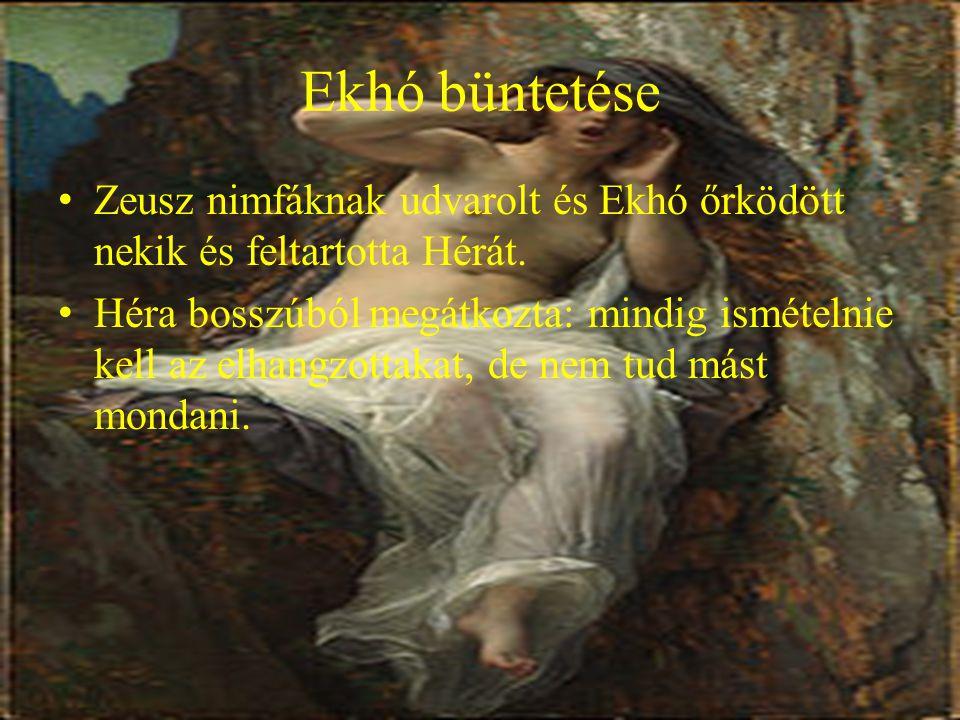 Ekhó büntetése Zeusz nimfáknak udvarolt és Ekhó őrködött nekik és feltartotta Hérát.