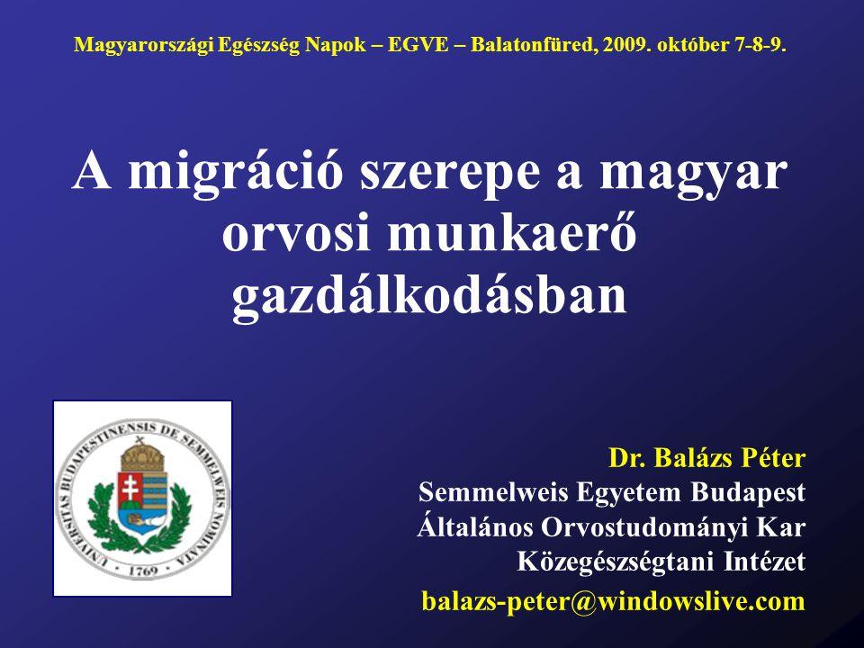 A migráció szerepe a magyar orvosi munkaerő gazdálkodásban