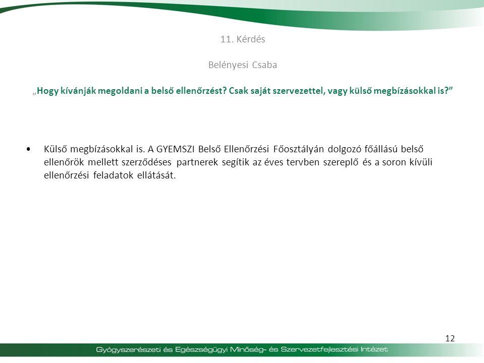 """11. Kérdés Belényesi Csaba """"Hogy kívánják megoldani a belső ellenőrzést Csak saját szervezettel, vagy külső megbízásokkal is"""
