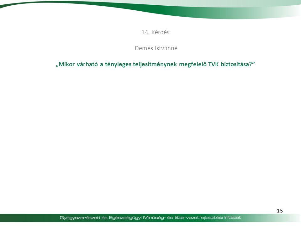 """14. Kérdés Demes Istvánné """"Mikor várható a tényleges teljesítménynek megfelelő TVK biztosítása"""