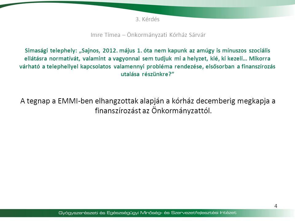 """3. Kérdés Imre Tímea – Önkormányzati Kórház Sárvár Simasági telephely: """"Sajnos, 2012. május 1. óta nem kapunk az amúgy is mínuszos szociális ellátásra normatívát, valamint a vagyonnal sem tudjuk mi a helyzet, kié, ki kezeli… Mikorra várható a telephellyel kapcsolatos valamennyi probléma rendezése, elsősorban a finanszírozás utalása részünkre"""