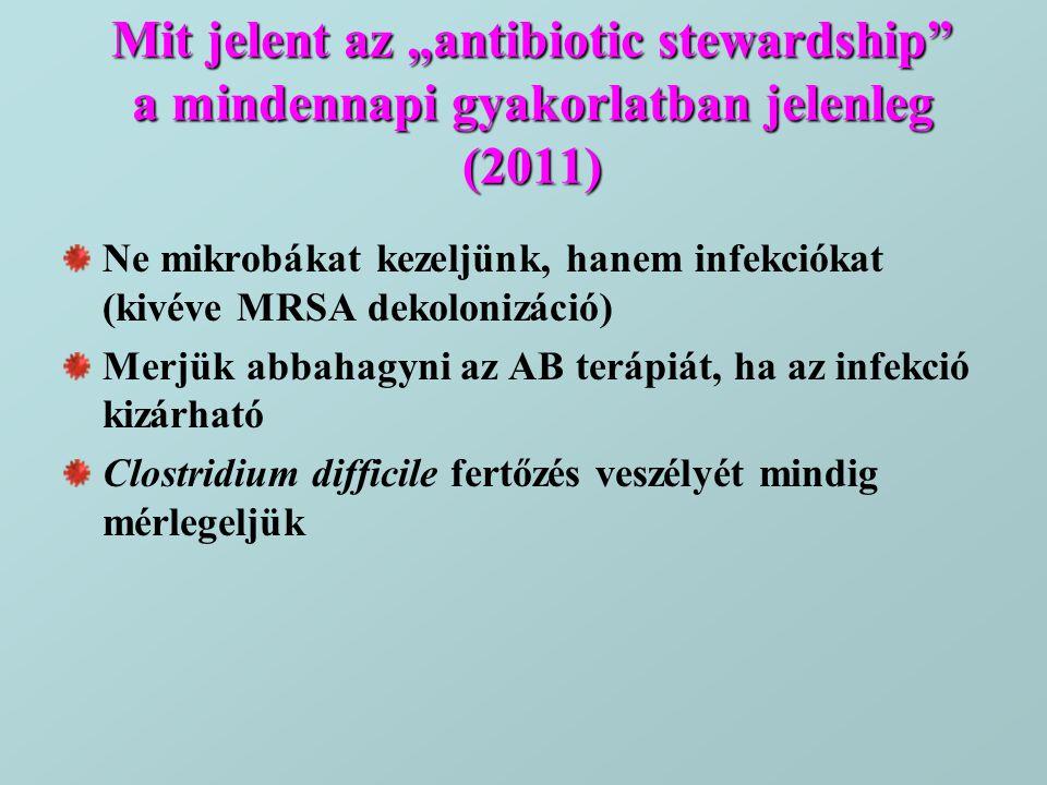 "Mit jelent az ""antibiotic stewardship a mindennapi gyakorlatban jelenleg (2011)"