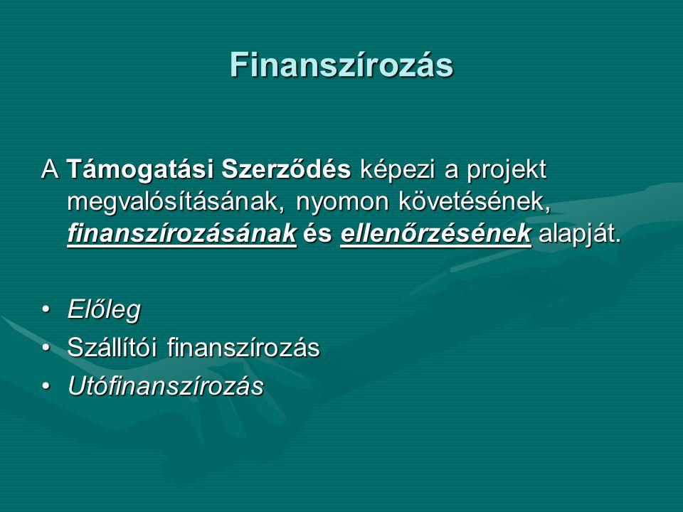 Finanszírozás A Támogatási Szerződés képezi a projekt megvalósításának, nyomon követésének, finanszírozásának és ellenőrzésének alapját.