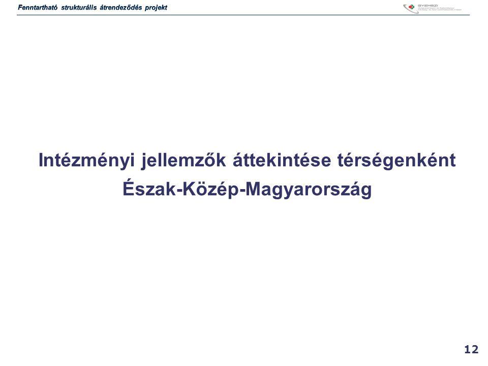 Intézményi jellemzők áttekintése térségenként Észak-Közép-Magyarország