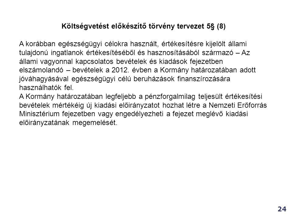 Költségvetést előkészítő törvény tervezet 5§ (8)