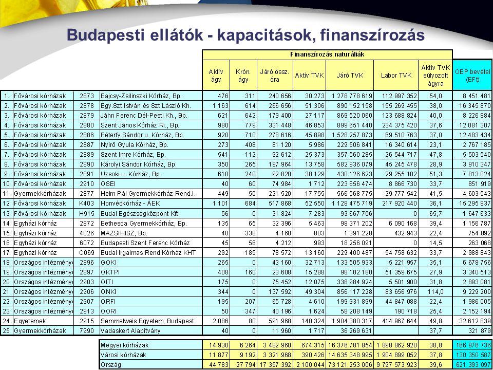 Budapesti ellátók - kapacitások, finanszírozás